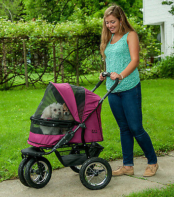 Pet Gear *NEW* NO-ZIP Double Stroller with Plush Pad and Weather Cover Air Tires