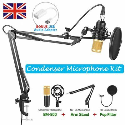 BM800 Condenser Microphone Kit w/ Black Mic Arm Stand + Pop Filter + USB Adapter