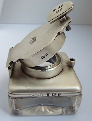 Superb Large Clean English Antique 1900 Sterling Silver Lock Down Travel Inkwell