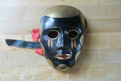 small older brass wall hanging solid brass enamel painted decorative face mask