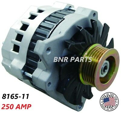 250 AMP 8165-11 Alternator New High Output HD HUMMER CHEVY GMC BUICK MADE IN USA