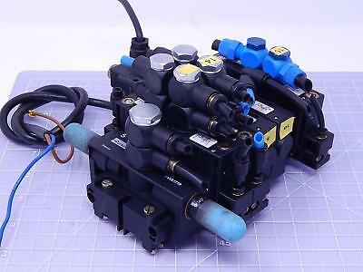 Lot of 5 Parker PVLB122618 Pneumatic Compact Valves w/ Manifold T111822