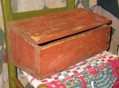 Primitive EARLY WOODEN WAGON TOOL BOX Buggy Farm Tractor Utility w OLD RED PAINT