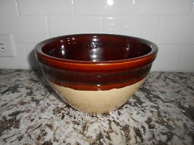 """Vintage Yellow Ware Pottery  Medium Mixing Bowl Brown Inside 8-1/2"""""""