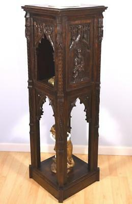 French Antique Gothic Revival Pedestal/Plant Stand/Display Cabinet in Oak