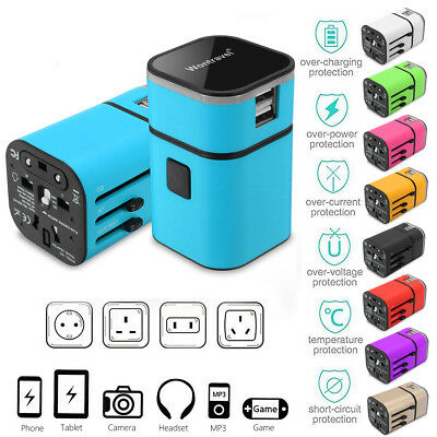 2 USB Plug Charger Universal World Travel Adapter Power Converter US UK EU AU