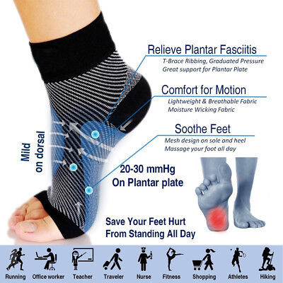 Plantar Fasciitis Compression Socks Foot Sleeve Ankle Support Brace Achy Heel AS