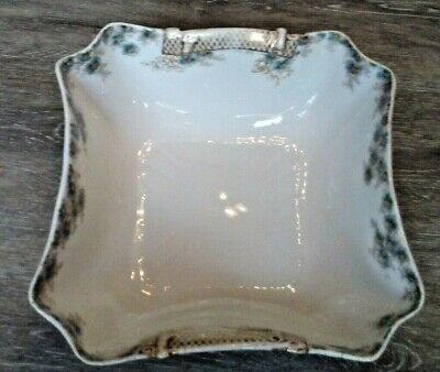 Antique CH Field Haviland Limoges Embossed Gold with Blue Flowers Serving Dish