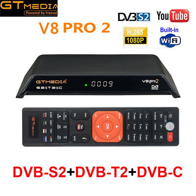 Gtmedia V8 Pro2 DVB-S2+T2+Cable HD 1080P Satellite Receiver Built-in WiFi H.265