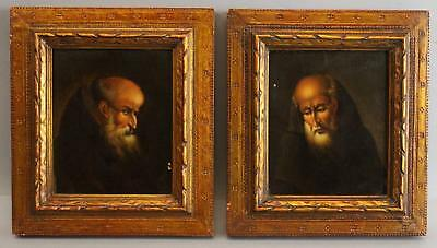 Pair Small Antique 18/19thC Old Master Italian Monk Portrait Oil Paintings, NR