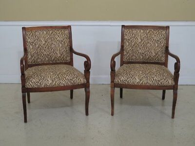 30277EC: Pair ETHAN ALLEN Animal Print Upholstered Arm Chairs
