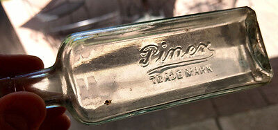 "Pinex Pharmacy Apothecary Embossed 6"" Antique Glass Medical Bottle VTG"