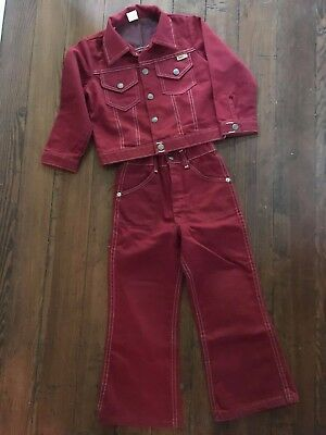 Vintage Sears Tough Skins Maroon Red Denim Jean Jacket Bell Bottom Pants Set