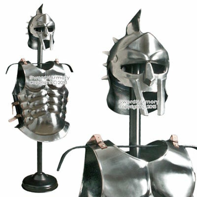 Spartan Polished 20 Gauge Steel Muscle Plate Cuirass with Gladitor Spike Helmet