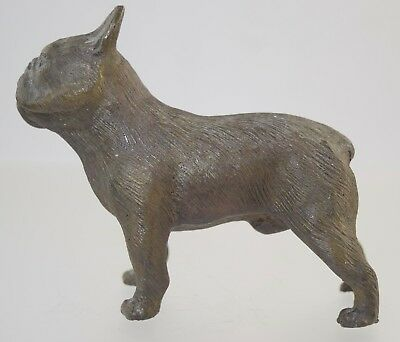 "Vintage Solid Bronze French Bulldog Figurine 4"" X 5"" Heavy"