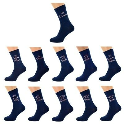 Navy Blue Printed in Rose Gold on Wedding Cotton Rich Socks Groom Wedding Party