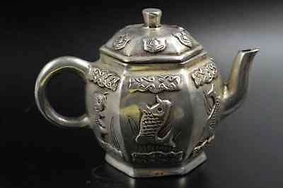 Chinese Collection Handwork Old Miao Silver Carve Cute Goldfish Fashion Tea Pot