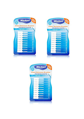 3x Wisdom Clean Between Interdental Brushes - Pack of 20 - Size Fine Blue (BLUE)