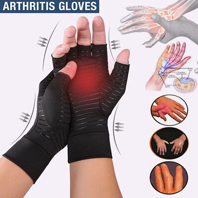 Compression Copper Arthritis Gloves Hand Wrist Support Finger Pain Relief Brace