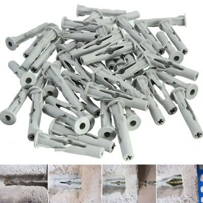 50x Nylon Plasterboard Dry Wall Plane Screw Cover Plug Door Frame Concrete