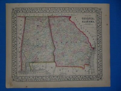 Vintage 1868 ALABAMA - GEORGIA Atlas Map ~ Old Antique Original 10119