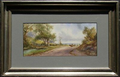 Listed Frank Pearson Cows on Country Road Antique Impressionist W/C Painting NR