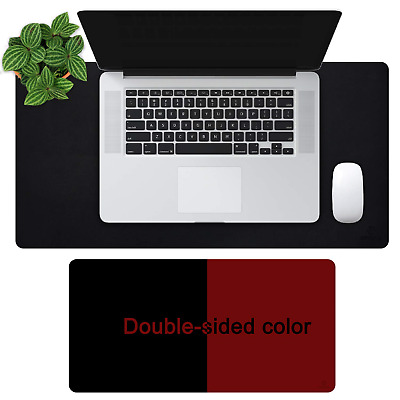 """OFFIDIX Office Desk Mat, 24""""x12""""inches Non-Slip PU Leather Two Colors Mouse..."""
