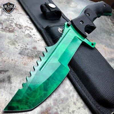 "11"" CSGO Tactical Hunting Tracker FIXED Blade Survival Bowie Knife GREEN GAMMA"