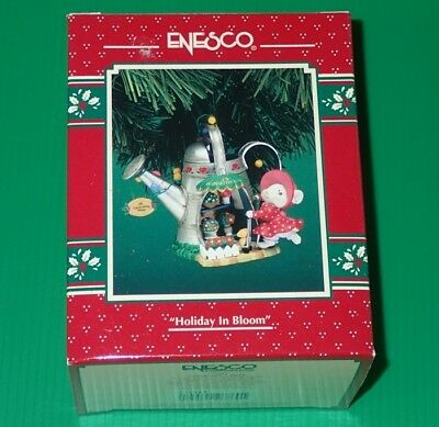 Enesco Treasury Ornament ~ Holiday In Bloom ~ Mouse At Poinsettia Lane *New
