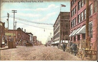 Vintage Postcard Grand Forks North Dakota Demers Avenue Looking West