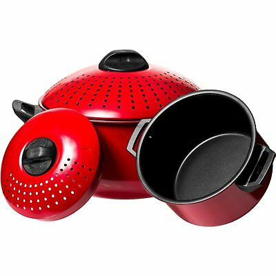 Quality Red Pasta Pot with Strainer Lid (2 Piece Set)