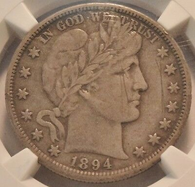 1894 S 50C NGC XF Details, Barber Silver Half Dollar, Bold Liberty Better Date