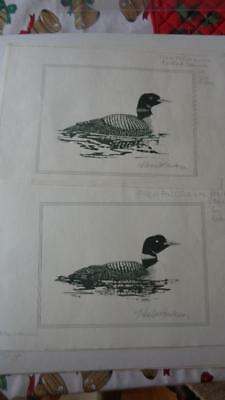 """2 Artist Proof Prints Ducks  Loons Signed By Bod Mikes 10 x7"""""""