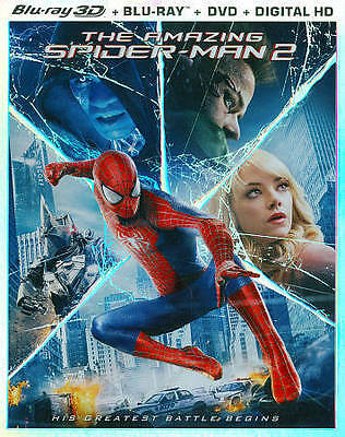 THE AMAZING SPIDER-MAN 2 (3D/Blu-ray/DVD, 2014, 3-Disc Set) New / Free Shipping