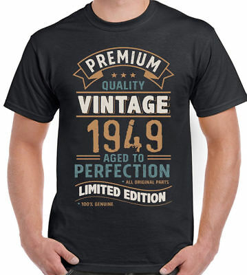 6d3476d9a Vintage Year 1949-Limited Edition 70th Birthday Men Funny Shirt 70 Year Old  M XL