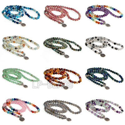 7 Chaka 108 Natural Gemstone Bracelet 6mm Prayer Mala Beads Meditation Buddhist