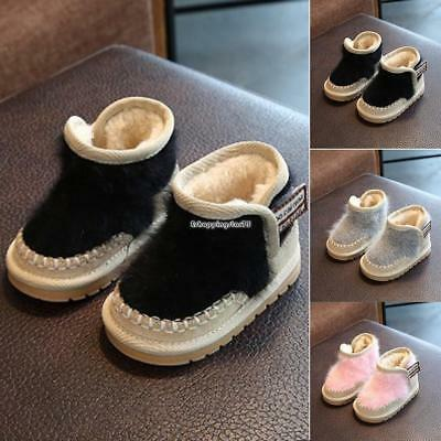 New Infant Newborn Baby Soft Sole Boots Toddler Plush Winter Shoes EH7E