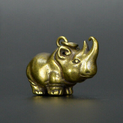 Chinese collection handwork bronze Small rhinoceros statue Key buckle Pendant