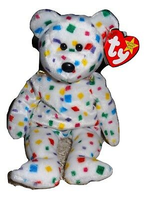Beanie Baby TY 2K White Bear Multi Colored Confetti Jan 1, 2000 Tags Mint TH