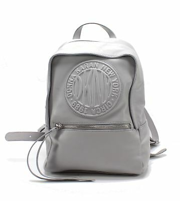 DKNY Melange Gray Silver Tilly Circa Logo Small Faux Leather Backpack $178 #009