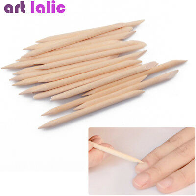 50Pcs Nail Art Orange Wood Stick Cuticle Pusher Remover Manicure Care Tool