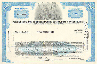 USA, Royal Dutch Petroleum Company, certificado de 100 acciones, 1969