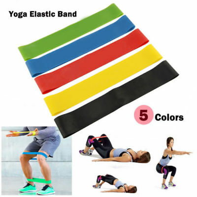 Bands Yoga Resistance Loop Set of 5 Crossfit Fitness Pilates Exercise Workout