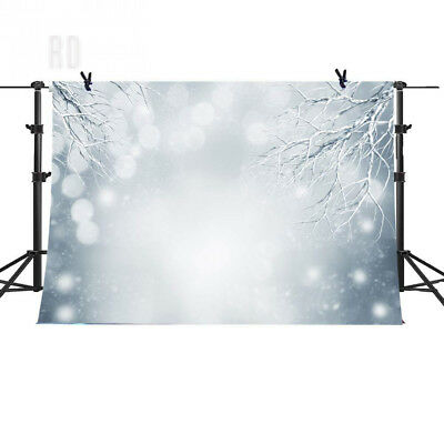 7x5ft Holiday White Snow Backdrop Photography Frozen Tree Winter Background...