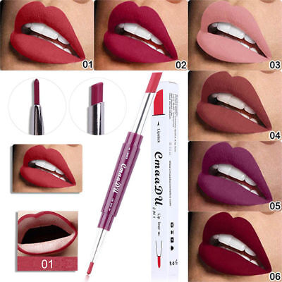 2 in 1 Double-end Waterproof Long Lasting Lipstick Pen Matte Lip Liner Cosmetics