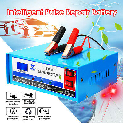 12V24V Full Automatic Intelligent Auto Car Battery Pulse Repair Charger LCD