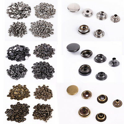 Leather Craft 100 Set Colored Press Studs Buttons Snap Fastener Diameter 10-15mm