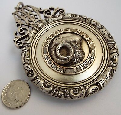Wonderful V Large Heavy Antique Perth 1873 Solid Silver Farming Prize Fob Medal