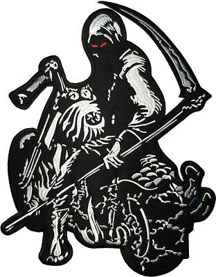 LARGE SIZE Grim Reaper Rider Scythe Red Eyes Motorcycle Biker Sew Iron on Patch