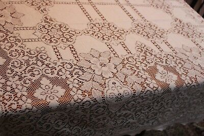 Vintage Snowy White Lace Tablecloth 58x100 Flowers & Medallions
